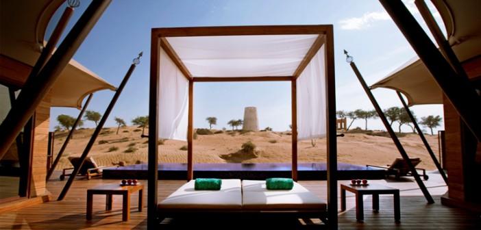 Blick von der Terrasse im Hotel Banyan Tree al Wadi in Ras al Khaimah