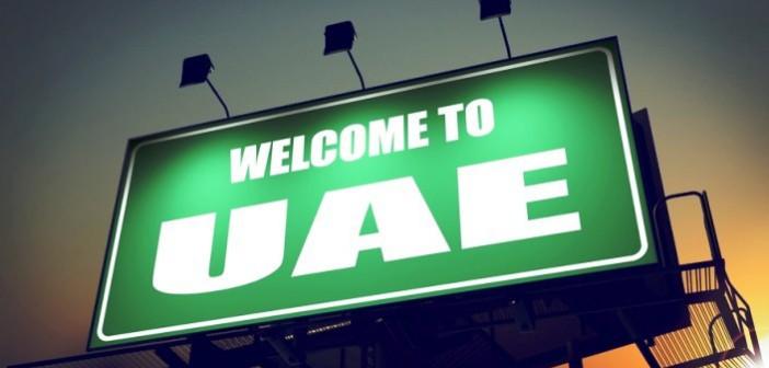 Schild am Flughafen Dubai - Welcome to UAE